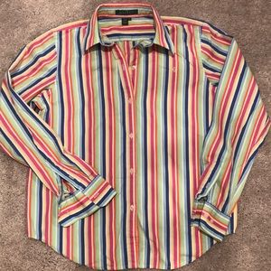 Ralph Lauren logo striped button down